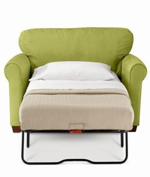 "Twin bed pull-out.. might need one of these with an ottoman instead of a chair... I may be ""camping out"" in my girls' room some nights                                                                                                                                                      More"