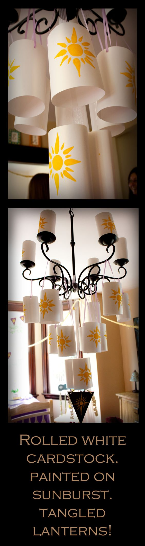 Easy tangled lanterns- maybe paint the sun image onto gold card and make smaller lanters to decorate around the backyard