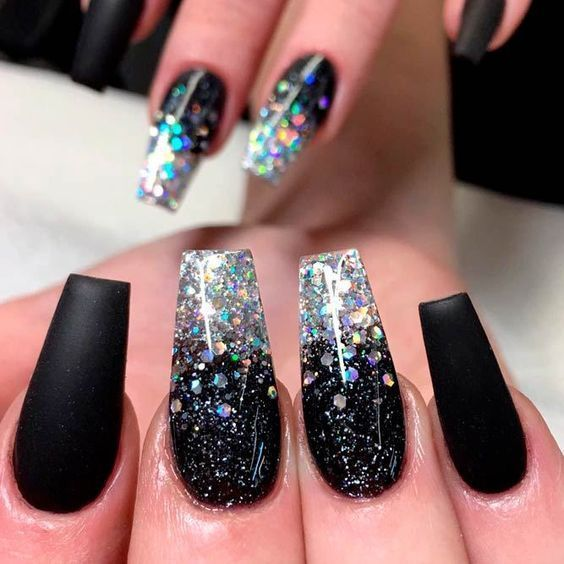 Trendy Black And Glitter Acrylic Nails Result Nail Designs Glitter Ombre Nails Glitter Black Nails With Glitter