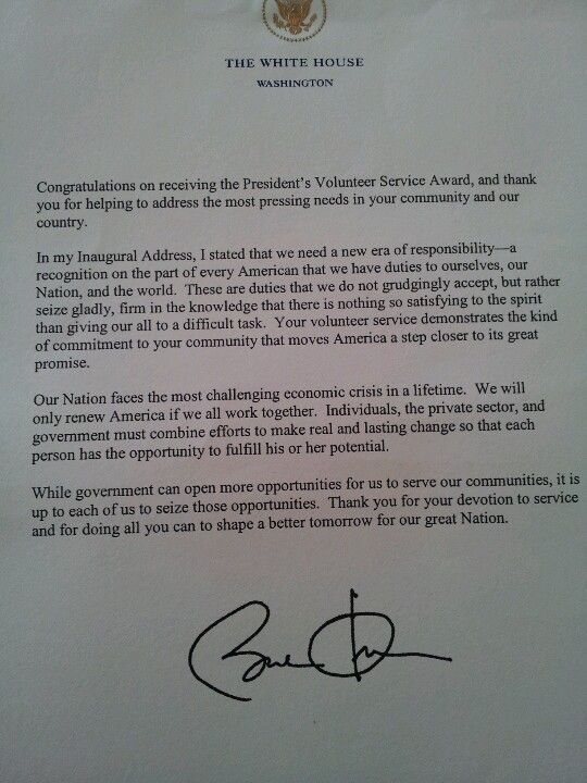My volunteer letter from the President Obama I also received an