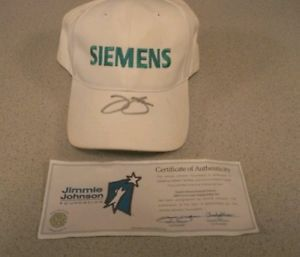 This Autographed Jimmie Johnson Hat comes with the certificate of authenticity. This is Jimmie Johnson's personal Siemens 2008 Victory Lane Championship Hat. This hat does have stains, but with it being used and in the victory celebration that's expected.  http://www.ebay.com/itm/131046587075