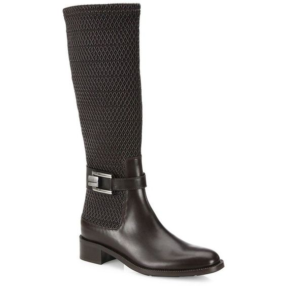 Aquatalia Odilia Stretch-Leather Riding Boots (43.710 RUB) ❤ liked on Polyvore featuring shoes, boots, apparel & accessories, side zip boots, leather equestrian boots, stacked heel boots, stretch boots and knee high leather riding boots