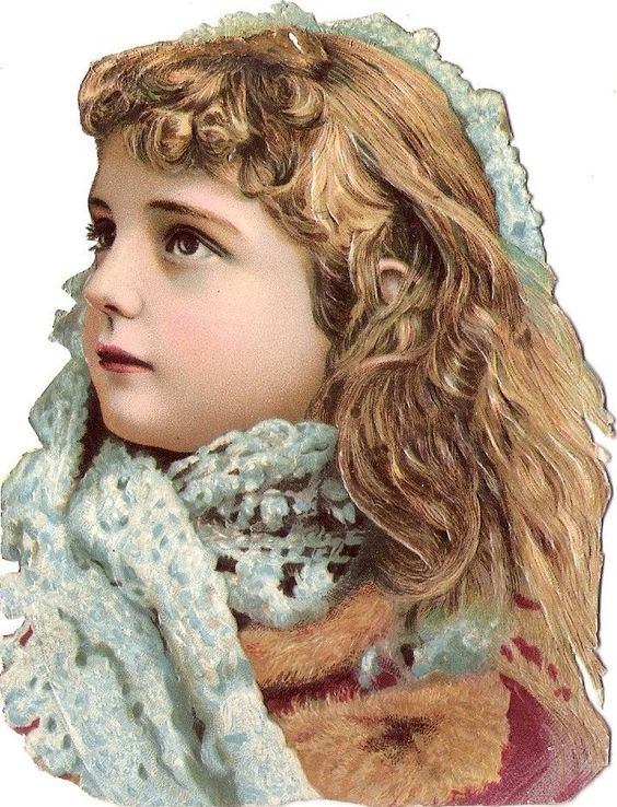 Oblaten Glanzbild scrap die cut chromo Kind  12cm child girl head Kopf Mädchen: