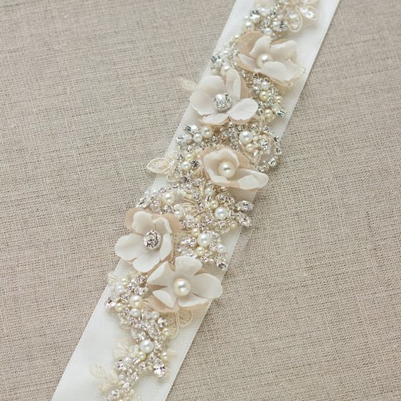 wedding dress belt chagne dress sash floral dress belt