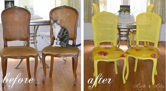 Antes y después de unas sillas tapizadas con hule.