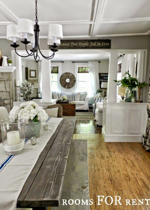 Rustic farmhouse best paint and country style on pinterest for Best farmhouse dining rooms