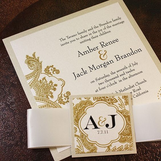 chagne gold bellevue wedding invitation suite ribbon