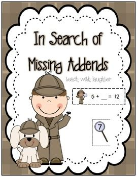 Missing Addends Detectives | Detective, Math Work and Recording Sheets
