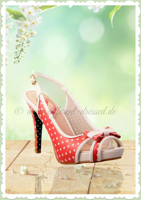 Banned 50er Jahre Rockabilly Schuhe Peeptoes - Mary Lou - Punkte