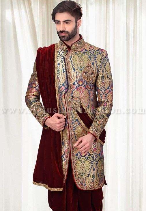 Colors sherwani and groom wedding dress on pinterest for Indian wedding dresses mens