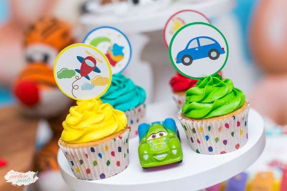 How fun are these cupcakes at a toy birthday party! See more party ideas at CatchMyParty.com!