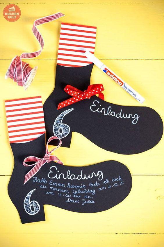Kindergeburtstag Pippi Langstrumpf Einladung - Richtig süße Idee, einfach nachzumachen.