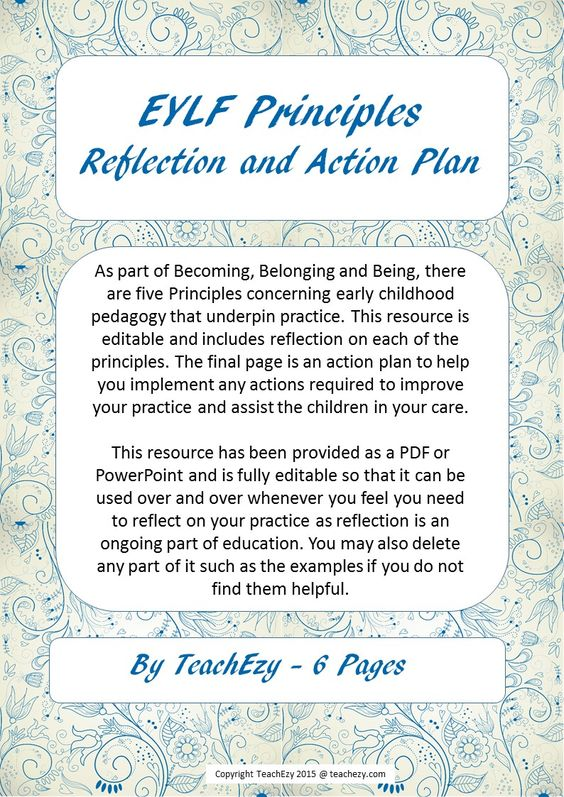One thing assessors, parents and educators look at in your early - action plan in pdf