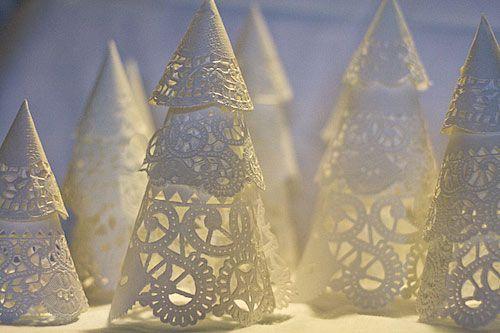 Lighted doily Christmas trees #tree #doily