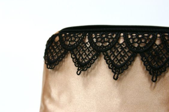 Gold & Black Venetian Lace Cosmetic Bag  by JordaniSarreal on Etsy, $11.95