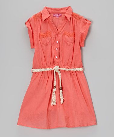 Rosy Cheeks Belted Button-Up Dress - Toddler & Girls #zulily #zulilyfinds