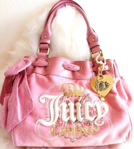 NEW JUICY COUTURE PINK VELOUR LEATHER CROWN GLITTER DAYDREAMER BAG