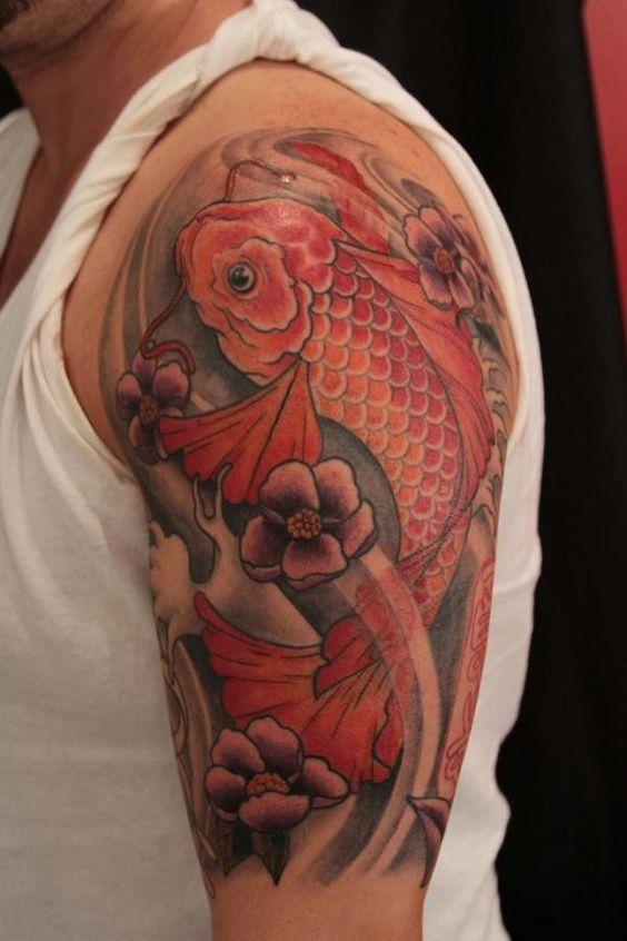 Red koi fish tattoo on half sleeve tattoos pinterest for Red koi fish
