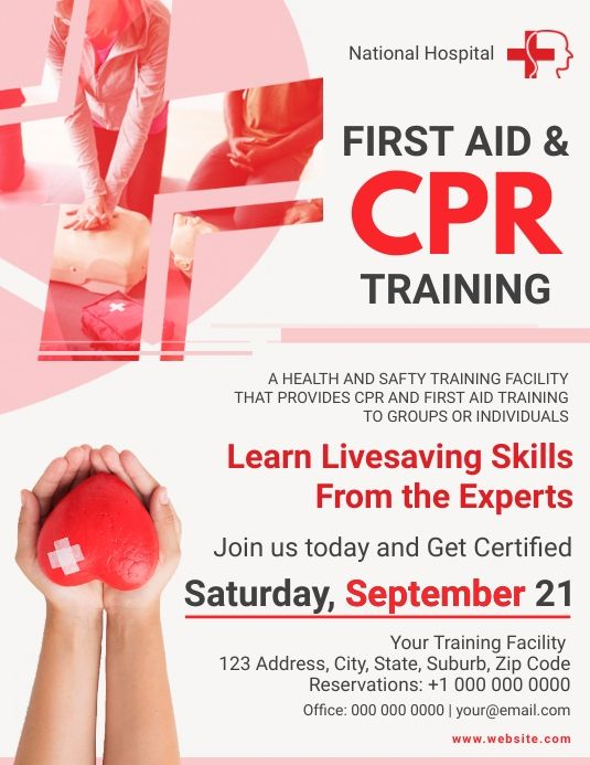 First Aid Cpr Training Flyer Cpr Training Health First Aid Cpr