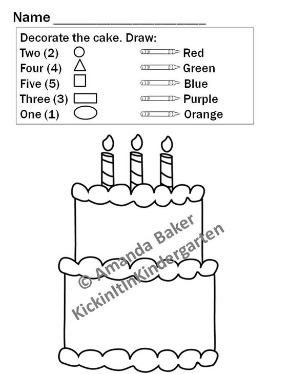 2d shapes worksheets for pre k 3 birthday cakes colors and count. Black Bedroom Furniture Sets. Home Design Ideas