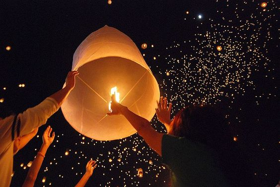Thai floating lantern festival.