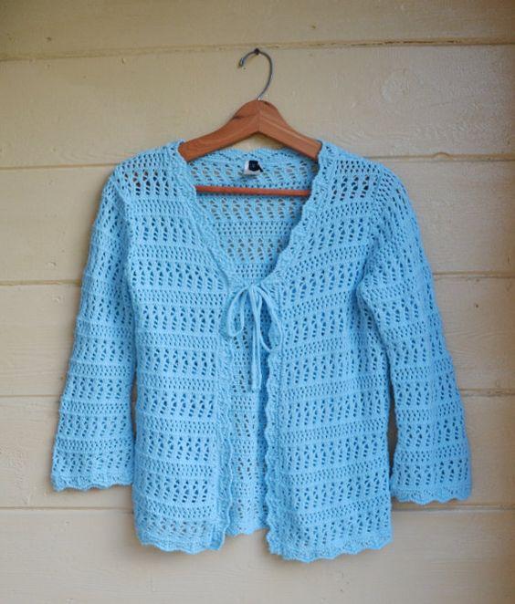 Vintage 80s Cardigan Sweater Knit Crochet Blue by founditinatlanta, $29.00