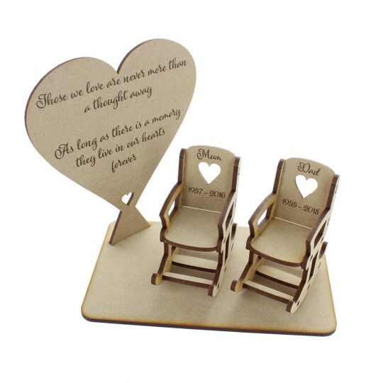 Loved Ones in Heaven Christmas heart Xmas Memory Table Top Plaque Centrepiece with Empty Chairs Personalised