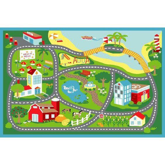 Kids Non Slip Road Map Beach Rug Blue 150x100cm Main