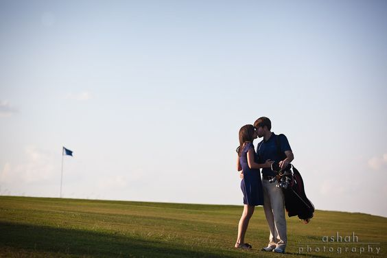 Golf Course Engagement Pic  Ashah Photography
