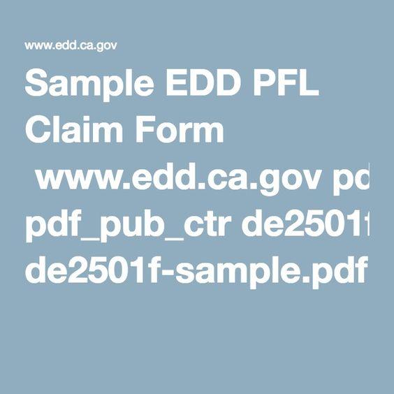 Sample EDD PFL Claim Form wwweddcagov pdf_pub_ctr de2501f - claim form in pdf