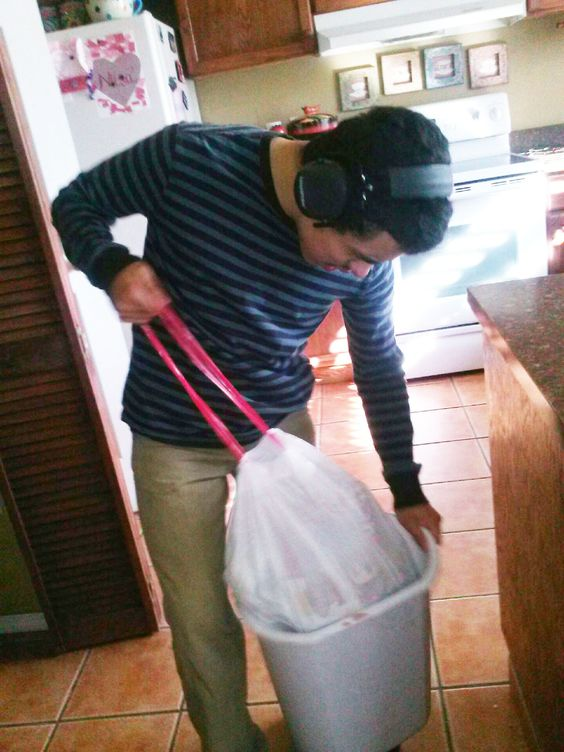 Part of taking care of my twin 15 year old sons with autism is teaching them about basic skills like taking out the trash.