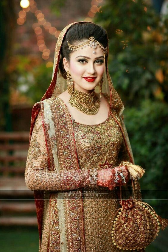 Glamorous red and golden combination attire