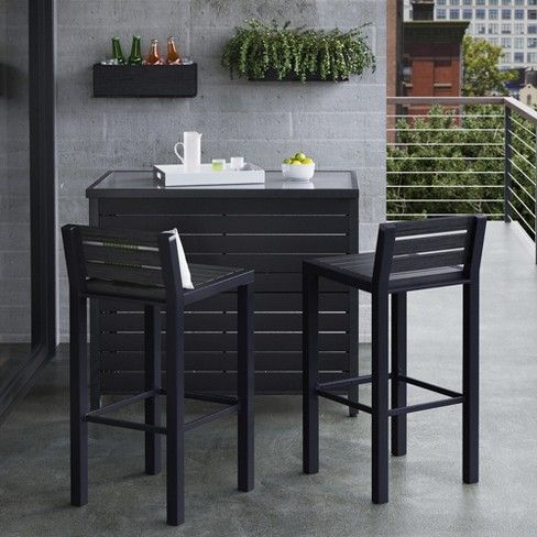 Bryant Faux Wood Patio Bar Table Black Project 62 Patio Bar Set Wood Patio Patio Bar Table