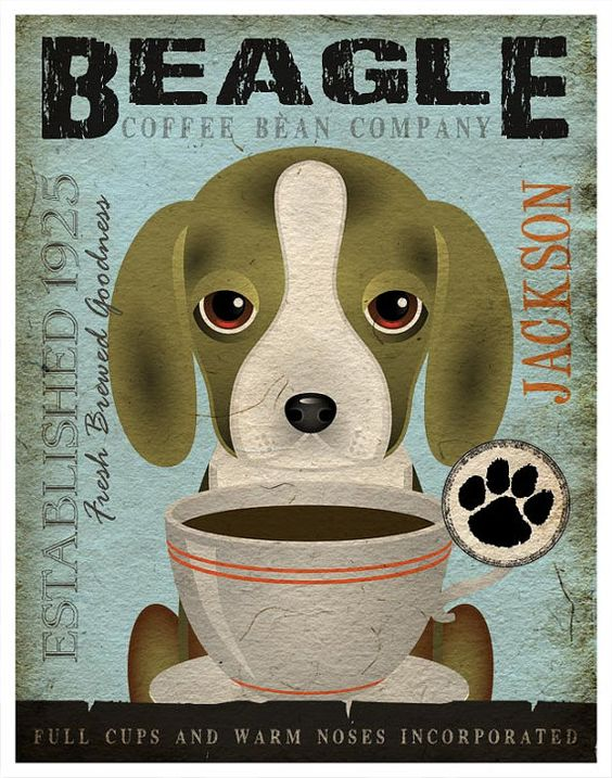 Beagle Coffee Bean Company Original Art Print  by DogsIncorporated, $29.00: