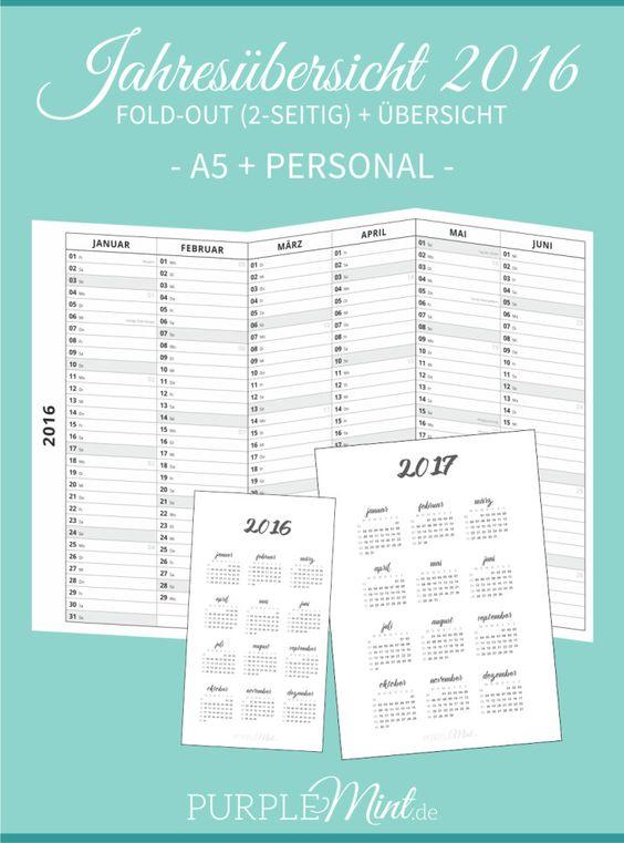 Jahresübersicht 2016 // A5 + Personal – Fold-Out