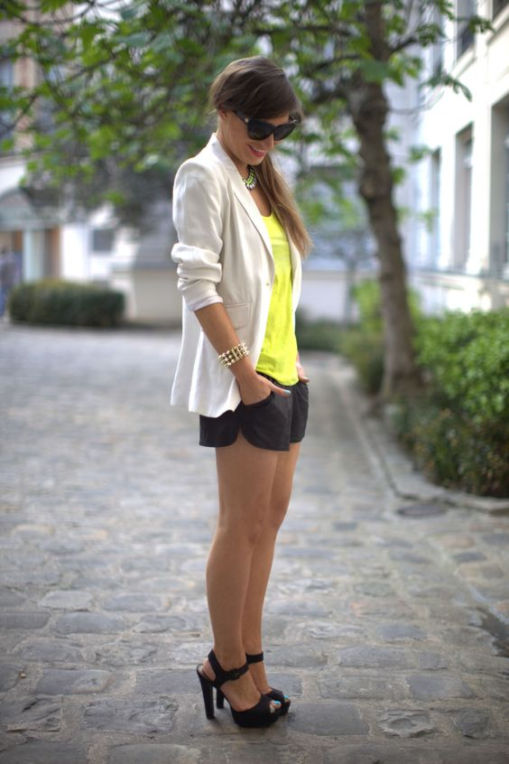 What I'm Wearing: Zara White Blazer, Zara Neon Tank, H Leather Shorts,  ASOS Heels, H Necklace,ASOS Sandals + House of Harlow Sunglasses: