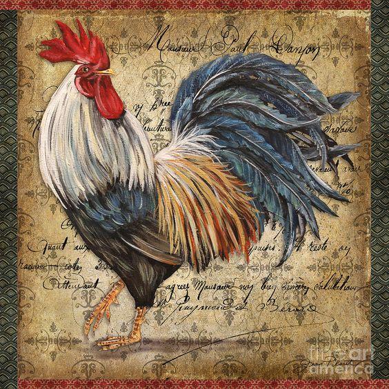 Proud Rooster-d Painting  - Proud Rooster-d Fine Art Print: