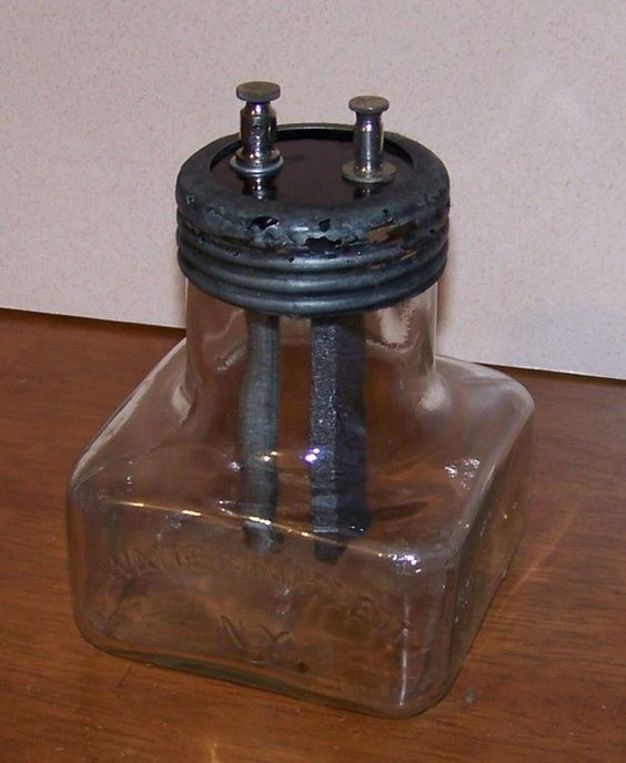 Antique glass grenet type cell old vintage jar battery for Uses for old glass bottles