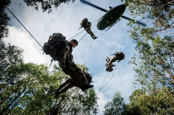 EIC (A COY) 2/1 RNZIR conduct the final phase of their Helo training. The Iroquois came down from Ohakea for 2 days in which 2 Platoon conducted fast roping and the Recon element conducted rapelling....