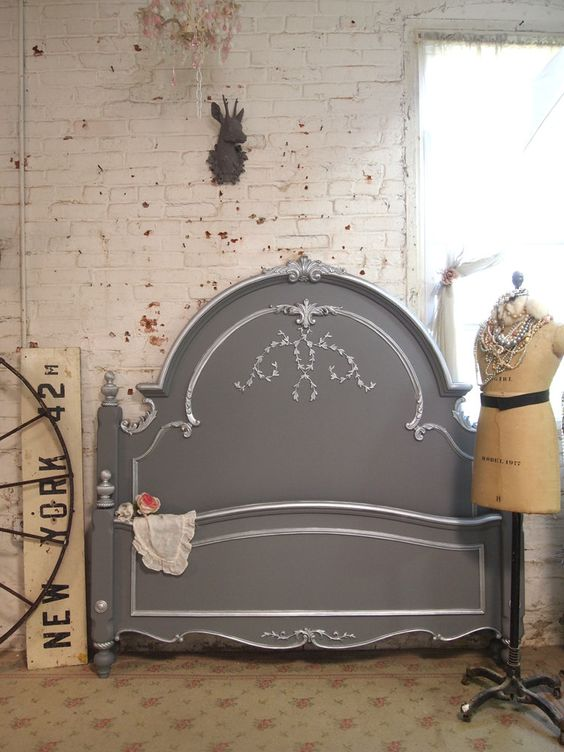 Painted Cottage Shabby Slate Grey Romantic Bed by paintedcottages on Etsy