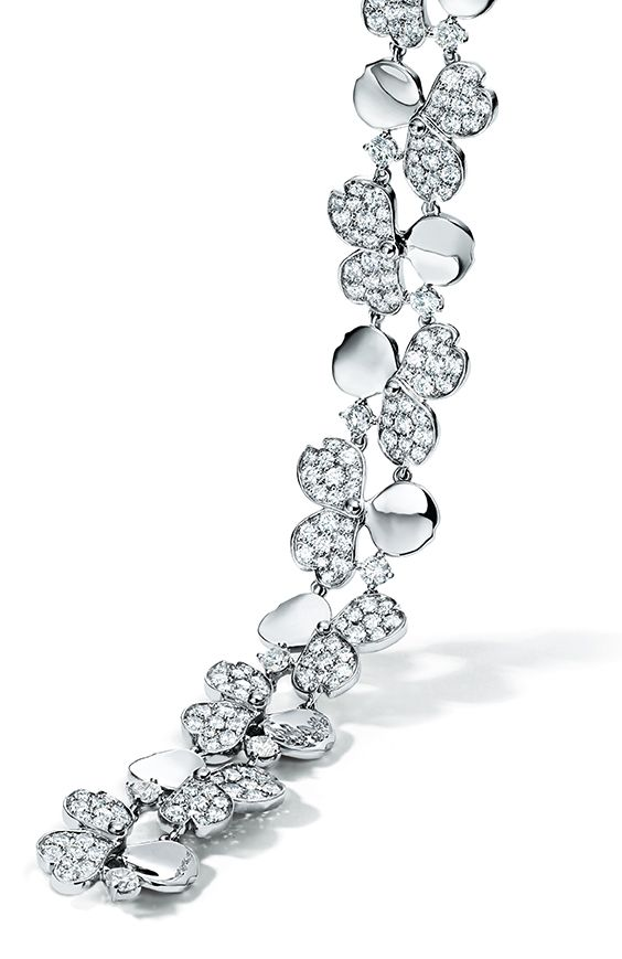Tiffany Paper Flowers Cluster Necklace In Platinum With Diamonds