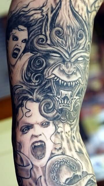 amazing demon tattoo on full sleeve demon tattoo designs pinterest full sleeves demon. Black Bedroom Furniture Sets. Home Design Ideas