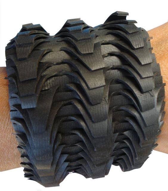 innertube bracelet. Recycled rubber...  www.barbaratenbhomer.nl