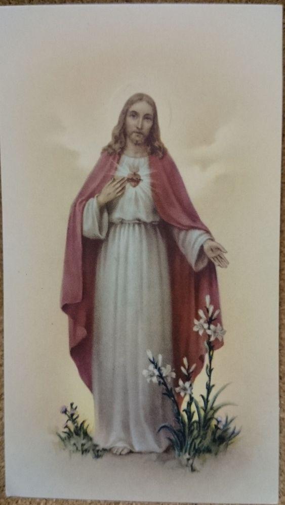 Estampa CORAZÓN DE JESÚS con oración en el reverso. De 5,5 X 10 cms