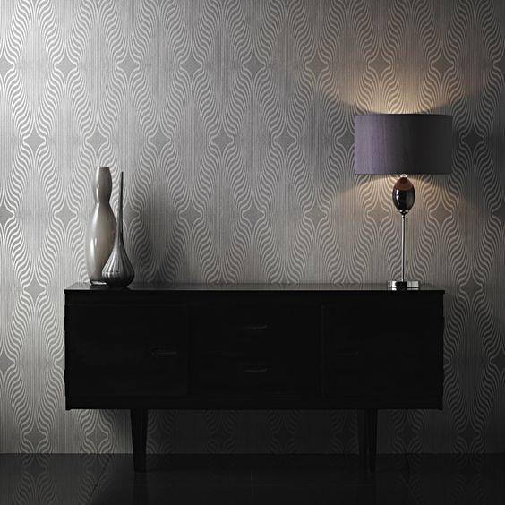 papier peint expans sur intiss g om trique gris paillet castorama entre nos murs. Black Bedroom Furniture Sets. Home Design Ideas