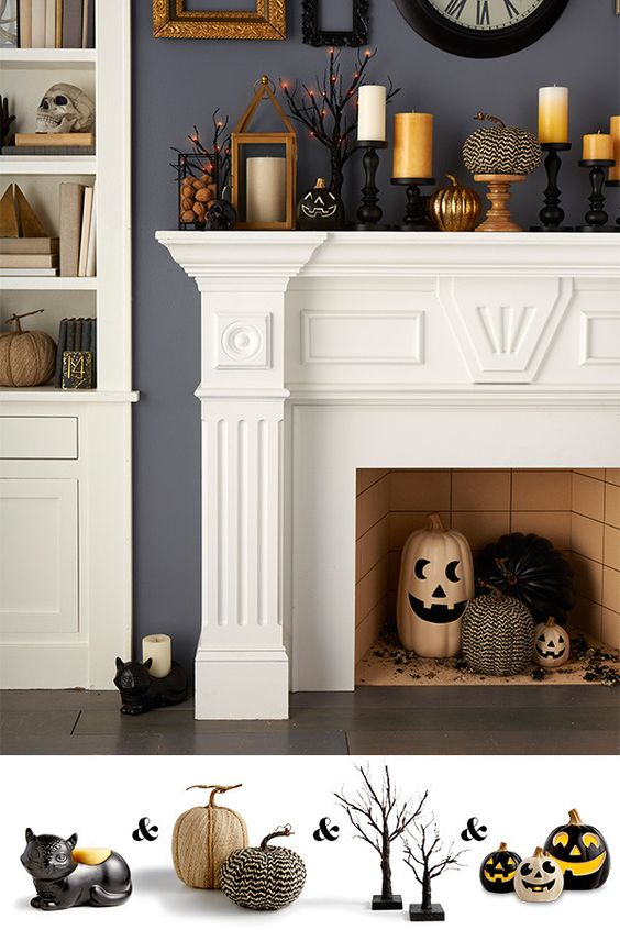 Transform your mantel for fall with a few candleholders of varying heights, pops of chevron and orange, and a large wall clock—add a couple jack-o-lanterns for a Halloween mantel so festive it's scary.