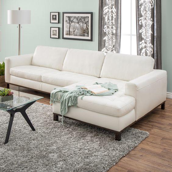 Natuzzi Lindo Cream Leather Sectional | Compras, Cuero y Productos
