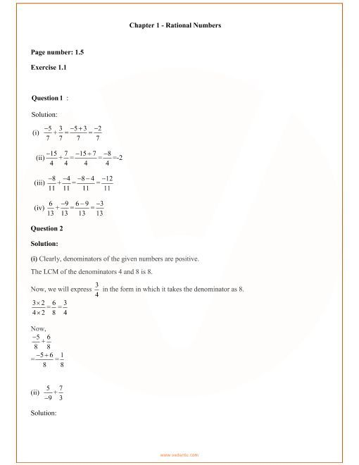 27 Rational Numbers Class 7 Worksheet Rational Numbers Maths