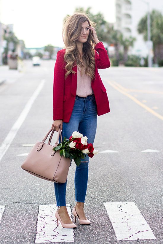 Street style, street chic style, valentine's day outfit, casual valentine's day outfit, office outfit, work outfit, romantic outfit -  red blazer, pink blouse, skinny jeans, pink heels, nude tote