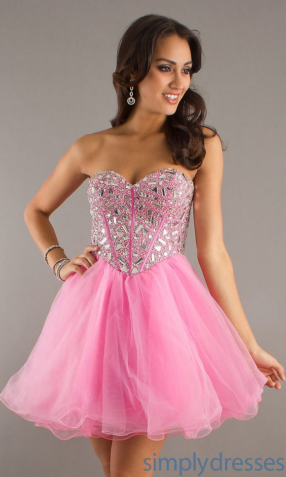 Beaded Strapless Short Dress- Short Prom Dresses - Simply Dresses ...
